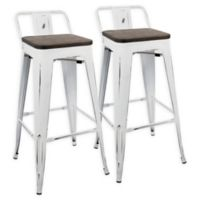 LumiSource Oregon Barstools in White/Espresso (Set of 2)