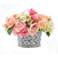 18-Inch Artificial Peony, Rose, and Hydrangea Arrangement with Vase