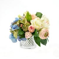 9-Inch Artificial Hydrangea and Rose Arrangement with Cut Glass Vase