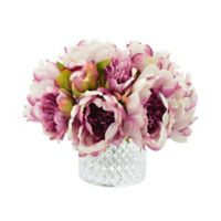 Lavender Peonies with Etched Glass Vase