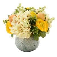Hydrangea, Lemon and Ranunculus Floral Arrangement with Ceramic Blue Vase