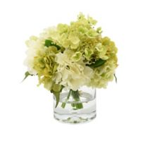 White and Green Hydrangea with Glass Vase