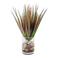 Artificial Sprouting Glass in Glass Vase with Rocks