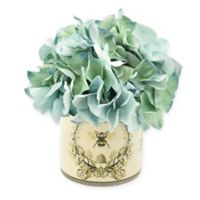 8-Inch Artificial Blue/White Hydrangea Arrangement in Vase with Label