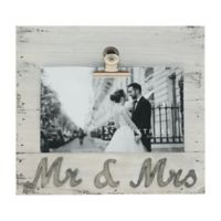 Sixtrees® Mr. and Mrs. 4-Inch x 6-Inch Pallet Wood Clip Picture Frame in White