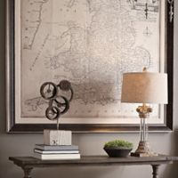 England and Wales Road Map 64-Inch Square Framed Canvas Wall Art