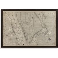Vintage New York City Map 64-Inch x 44-Inch Framed Canvas Wall Art