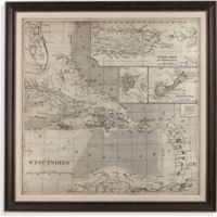 Vintage Caribbean Map 65-Inch Square Framed Canvas Wall Art
