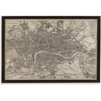 Vintage London Map 65-Inch x 44-Inch Framed Canvas Wall Art