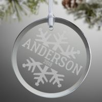 Snowflake Family Personalized Glass Ornament