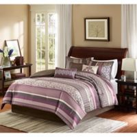 Madison Park Princeton 7-Piece Reversible Queen Comforter Set in Purple/Brown