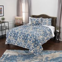Rizzy Home Asher Queen Quilt Set in Blue/Yellow