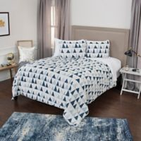 Rizzy Home Flint King Quilt Set in Indigo/Ivory