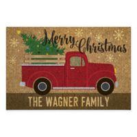 """Christmas Truck 18"""" x 27"""" Door Mat in Brown"""