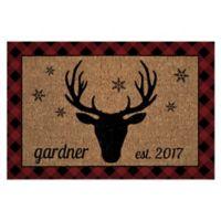 """Holiday Deer 18"""" x 27"""" Door Mat in Brown"""