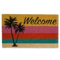 """Design Imports Rooster Welcome Palm Tree 18"""" x 30"""" Coir Door Mat in Yellow"""