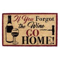 """Design Imports Forgot The Wine 18"""" x 30"""" Coir Door Mat in Tan"""