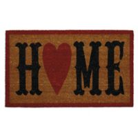 """Design Imports Home Heart 18"""" x 30"""" Coir Door Mat in Tan"""