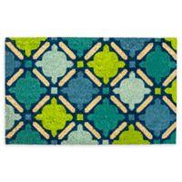 """Design Imports Mosaic 18"""" x 30"""" Coir Door Mat in Blue"""