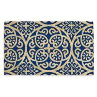 "Design Imports Tunisia Scroll 18"" x 30"" Coir Door Mat in Blue"