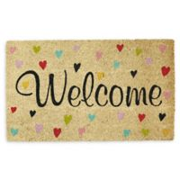 "Design Imports Hearts Welcome 18"" x 30"" Coir Door Mat in Tan"