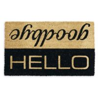 "Design Imports Hello Goodbye 18"" x 30"" Coir Door Mat in Tan"