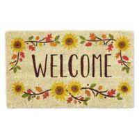 """Design Imports Sunflowers Welcome 18"""" x 30"""" Coir Door Mat in Tan"""