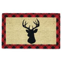"Design Imports Holiday Stag 18"" x 30"" Coir Door Mat in Tan"