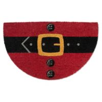 """Design Imports Santa Belly 18"""" x 30"""" Coir Door Mat in Red"""