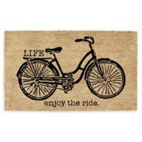 """Design Imports Bicycle 18"""" x 30"""" Coir Door Mat in Tan"""