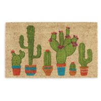 """Design Imports Cactus 18"""" x 30"""" Coir Door Mat in Tan"""