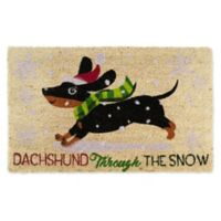 "Design Imports Dachshund Through The Snow 18"" x 30"" Coir Door Mat in Tan"