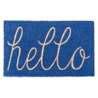 """Design Imports Hello 18"""" x 30"""" Coir Door Mat in Blue"""