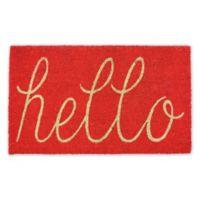 """Design Imports Hello 18"""" x 30"""" Coir Door Mat in Red"""