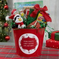 Merry Christmas Personalized Metal Gift Bucket