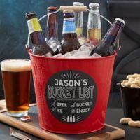 Bucket List Personalized Red Metal Beer Bucket