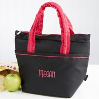 Pink & Black Embroidered Lunch Bag- Name