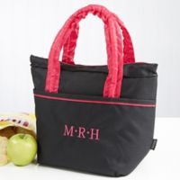 Pink & Black Embroidered Lunch Bag- Monogram