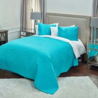 Rizzy Home Satinology King Quilt Set in Aqua Blue