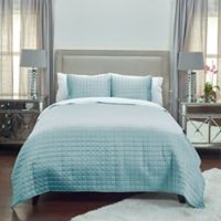 Rizzy Home Satinology Queen Quilt Set in Blue