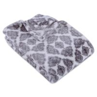 VelveLoft® Floral Diamond Throw Blanket in Grey