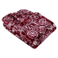 VelvetLoft® Florentine Paisley Plush Throw Blanket in Canvas