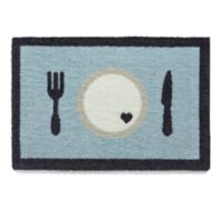 """Howler & Scratch 24-Inch x 16-Inch """"Hungry Thirsty"""" Pet Mat in Sky Blue"""