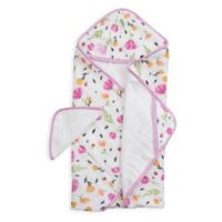 Little Unicorn Berry and Bloom Muslin/Terry Hooded Towel in Pink/Yellow