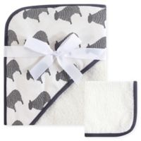 Hudson Baby® Sheep Woven Hooded Towel and Washcloth Set in White