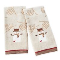 Woodcut Snowman Hand Towels in Wheat (Set of 2)