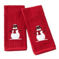 Woodland Winter Hand Towels in Red (Set of 2)