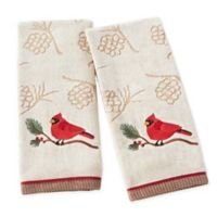 Cardinal and Branch Hand Towels in Wheat (Set of 2)