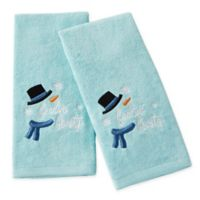"""Feelin' Frosty"" Hand Towels in Aqua (Set of 2)"