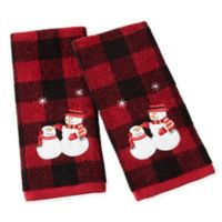Snowmen Plaid Hand Towels in Red (Set of 2)
